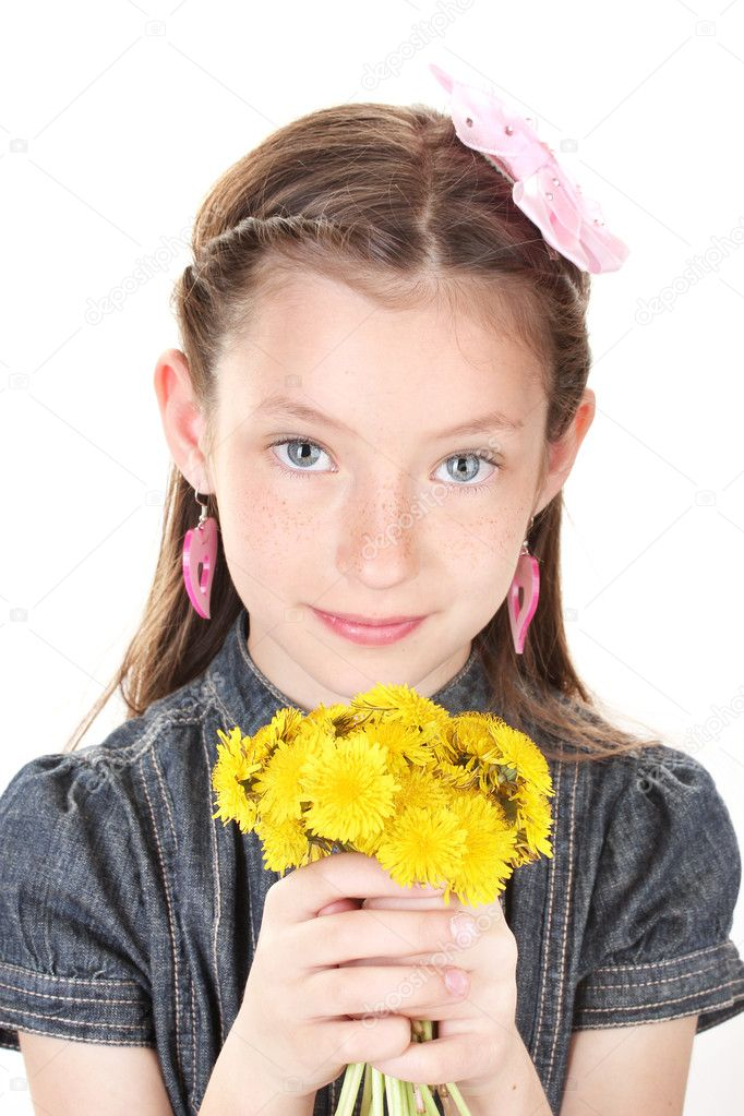 Portrait of beautiful little girl with dandelions isolated on white — Stock Photo #10978317