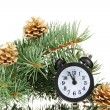 Green Christmas tree and clock isolated on white — Stock Photo