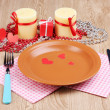 Table setting on wooden background - Stock Photo