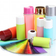 Aerosol cans and bright paper palette isolated on white - Stock Photo