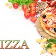 Delicious pizza with vegetables and salami isolated on white — Stock Photo #10987453