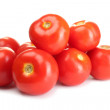 Ripe red tomatoes isolated on white — Stock Photo #10989399