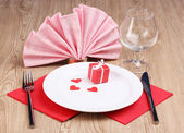 Table setting close-up on wooden background — Stock Photo