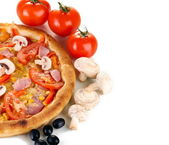 Aromatic pizza with vegetables and mushrooms close-up isolated on white — Stock Photo