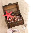 胸や砂の上の貝殻 — ストック写真