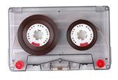 音频盒式带颜色标签上白色隔离 — 图库照片