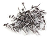 Metal nails isolated on white — Stock Photo