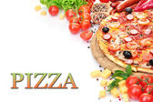 Delicious pizza with vegetables and salami isolated on white — Stock Photo