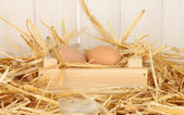 Brown eggs in a wooden box on straw on white wooden background — Stock Photo