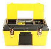Open gele gereedschapskist geïsoleerd op witte close-up — Stockfoto