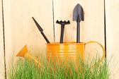 Hierba verde y herramientas de jardín sobre fondo de madera — Foto de Stock