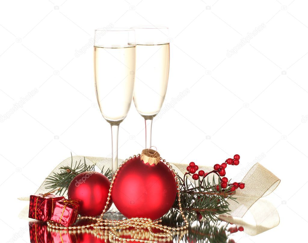 Two glasses with christmas decoration on white background — Stock Photo #10985400
