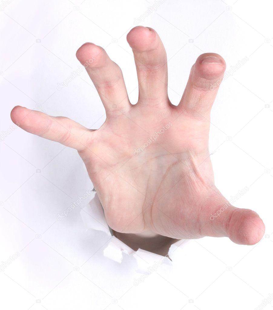 突破纸张的手– 图库图片