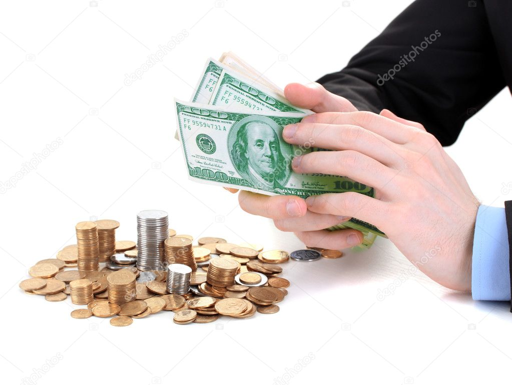 Business man taking money isolated on white — Stock Photo #10986972