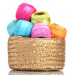 Bright threads for knitting in the basket isolated on white - Stock Photo