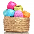 Bright threads for knitting in the basket isolated on white — Stock Photo #10992448