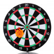 Darts with stickers depicting the life values isolated on white. The darts hit the target. - Stock Photo