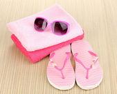 Beach accessories on mat — Stock Photo
