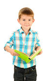 Funny little boy with book isolated on white — Stock Photo