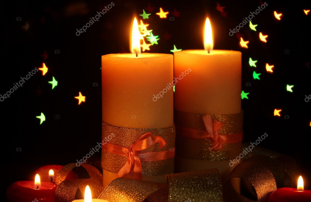 Beautiful candle and decor  on wooden table on bright background  Stock Photo #10992598