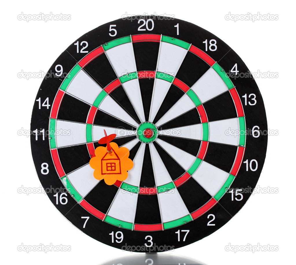 Darts with stickers depicting the life values isolated on white. The darts hit the target. — Stock Photo #10992669