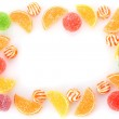 Frame of colorful jelly candies isolated on white — Stock Photo #11001121