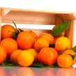 Ripe tasty tangerines with leaves in wooden box dropped isolated on white — Stock Photo #11027222