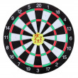Darts with stickers depicting the life values isolated on white. The darts hit the target. — Stock Photo