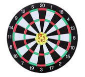 Dart ile üzerine beyaz izole yaşam değerleri gösteren çıkartmaları. dart hedef hit. — Stok fotoğraf