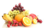 Exotic fruits and berries isolated on white — Stock Photo