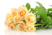 Beautiful bouquet of roses isolated on white — Stock fotografie