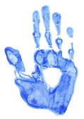 Bright blue handprint on white background close-up — Stock Photo