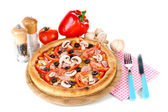 Aromatic pizza with vegetables and mushrooms isolated on white — Foto Stock