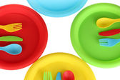 Bright plastic disposable tableware close-up — Stock Photo
