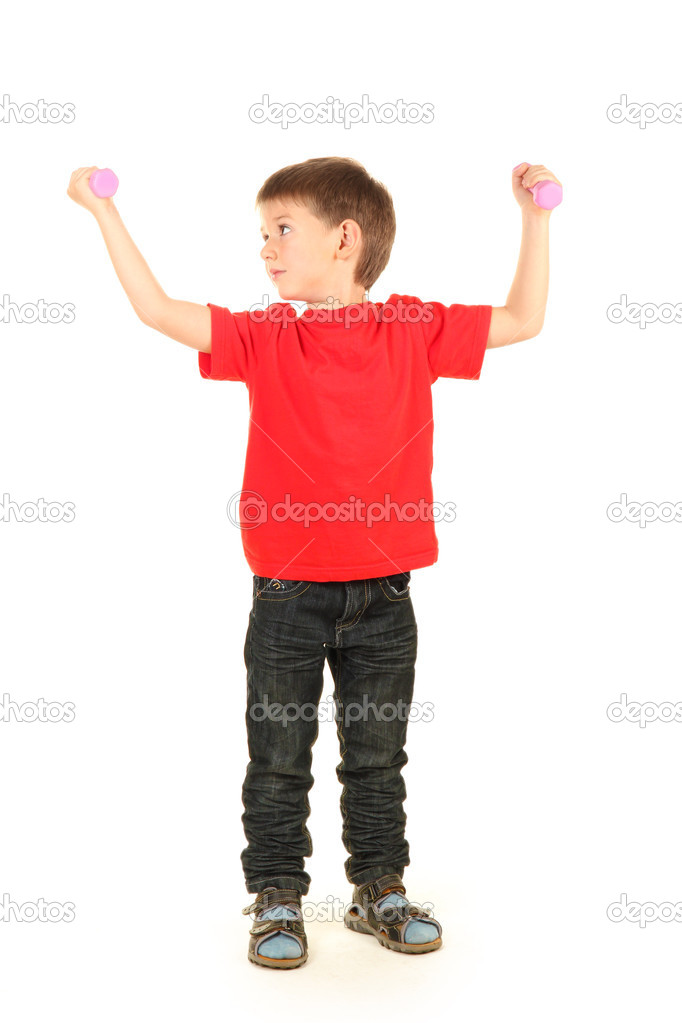 Portrait of little boy with dumbbells isolated on white  Stock Photo #11045901