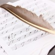 Musical notes and feather on wooden table — Stock Photo #11071904