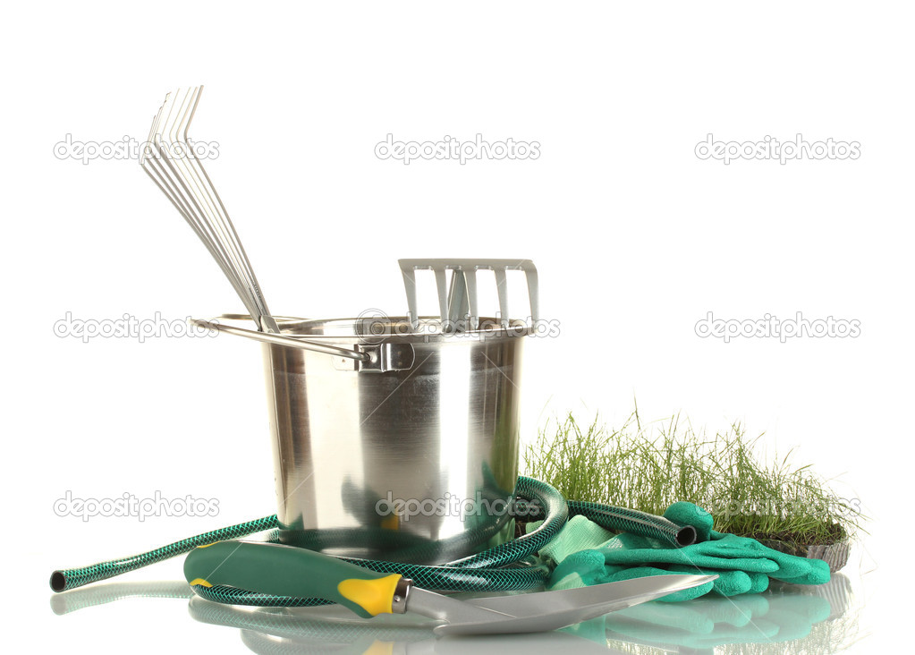 Garden tools isolated on white  Stock Photo #11072042