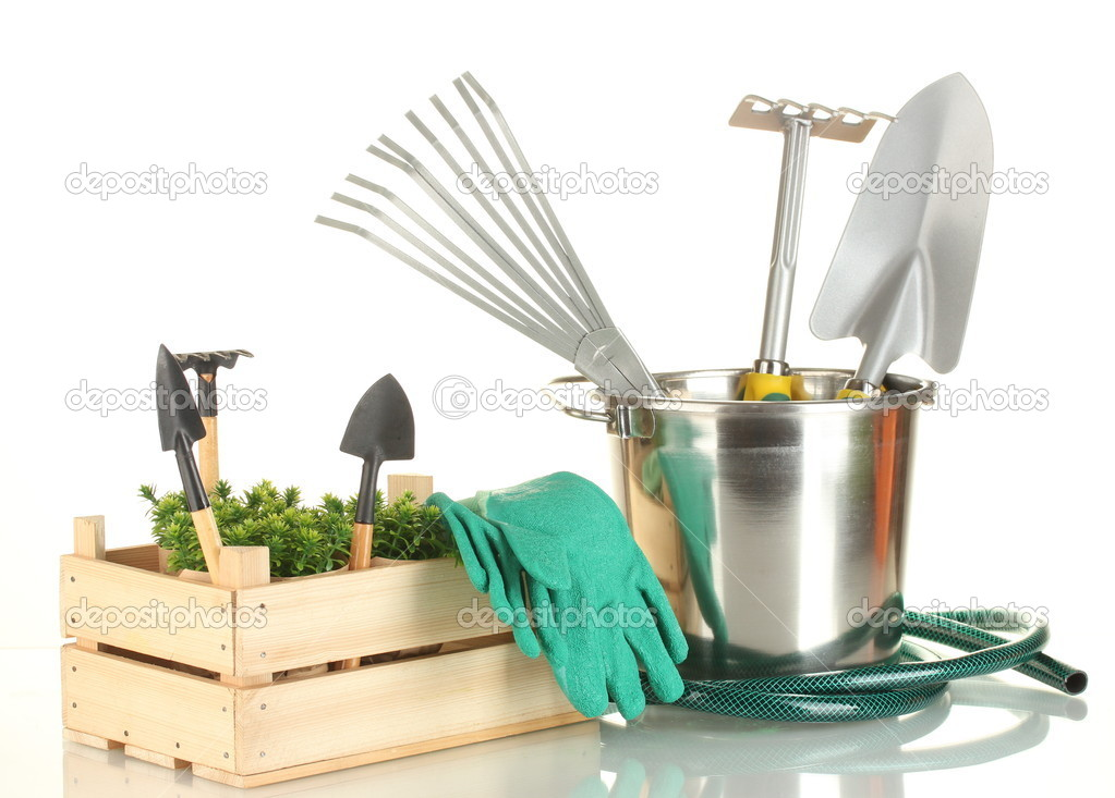 Garden tools isolated on white — Stock Photo #11072049