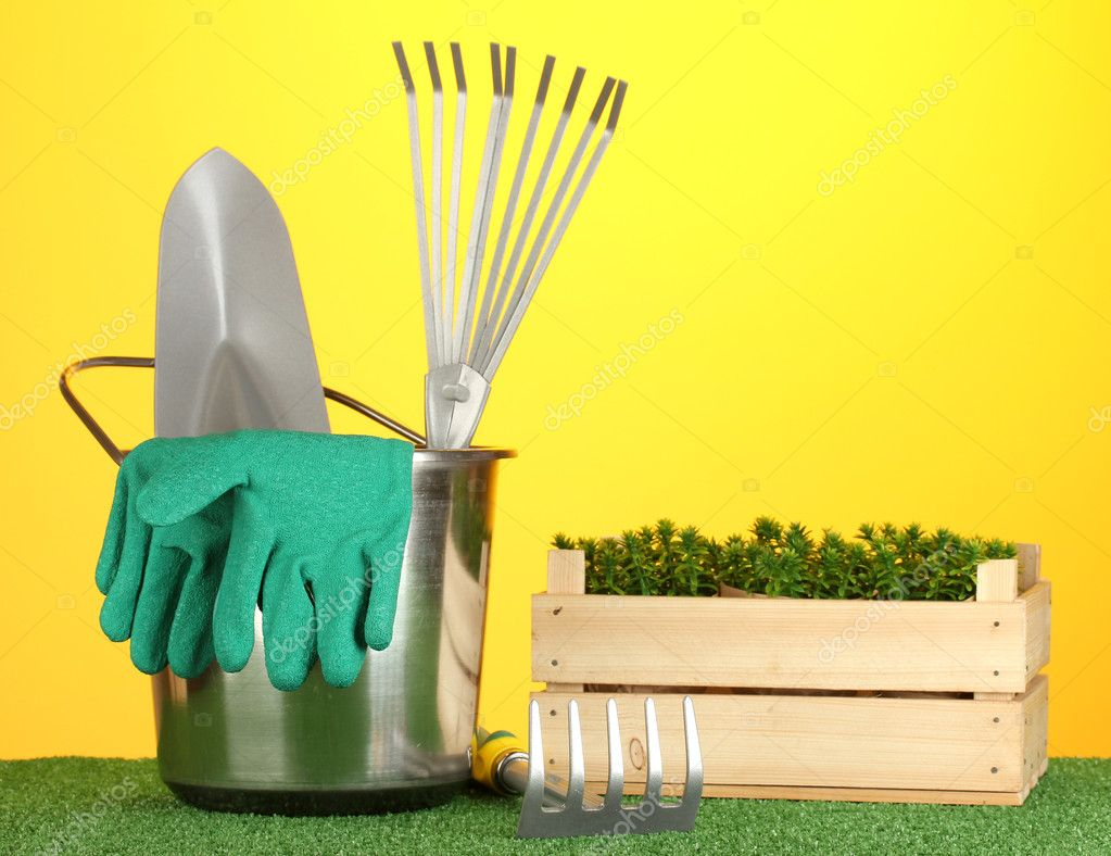 Garden tools on lawn on bright colorful background close-up — Stock Photo #11072051