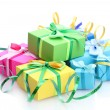 Bright gifts with bows isolated on white — Stock Photo #11088533