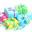 Bright gifts with bows isolated on white — Stock Photo #11088535