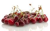 Ripe cherry berries isolated on white — Stock Photo