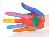Brightly colored hand on white background close-up — Stock Photo