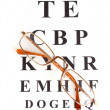 Stock Photo: Eyesight test chart with glasses close-up