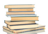 Wieża książek na białym tle — Zdjęcie stockowe
