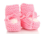 Pink baby boots isolated on white — Stock Photo