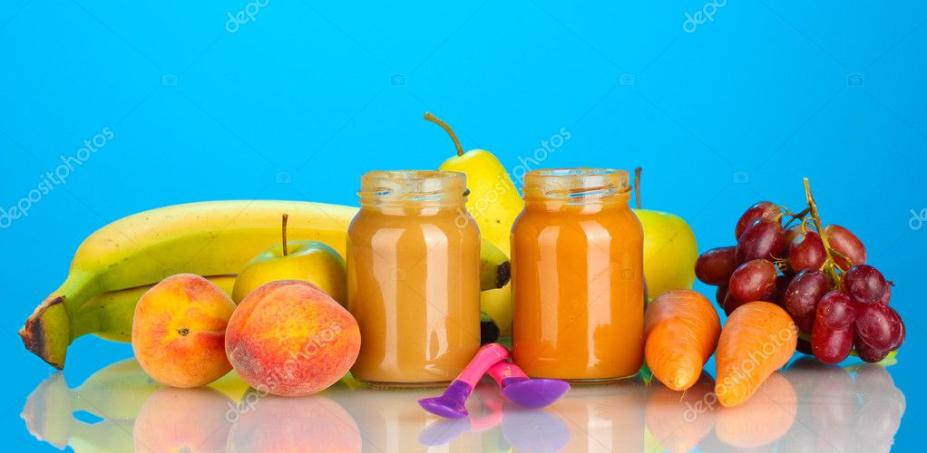 Jars with fruit and vegetables baby food and fruits and vegetables on colorful background  Stock Photo #11104989