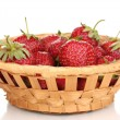 Sweet ripe strawberries in basket isolated on white — Stock Photo #11139305