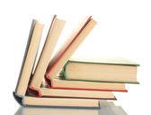 Stapel open boeken geïsoleerd op wit — Stockfoto
