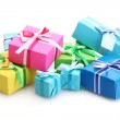 Bright gifts with bows isolated on white — Stock Photo #11151941